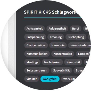 SPIRIT KICKS Anwendung - Schlagwortsuche